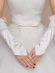 Elbow Length Fingerless Glove Satin Lace Bridal Gloves Party/ Evening Gloves Floral