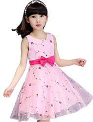 Girl's Casual/Daily Dress,Polyester Summer Pink / White / Beige