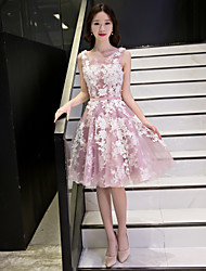 A-Line Scoop Neck Knee Length Lace Tulle Cocktail Party Prom Dress with Appliques Lace Sash / Ribbon by QZ