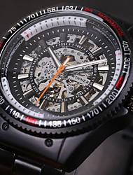 preiswerte -WINNER Herren Armbanduhr Mechanische Uhr Automatikaufzug Transparentes Ziffernblatt Edelstahl Band Schwarz Weiß Schwarz