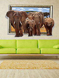 3D Wall Stickers Wall Decals Style Forest Elephant Group PVC Wall Stickers