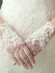 economico -Nylon Raso elasticizzato Al polso Guanti Guanti da sposa Da sera/eleganti With Perline Con applique