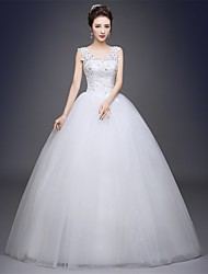 Ball Gown Scoop Neck Floor Length Tulle Wedding Dress with Appliques by Embroidered bridal