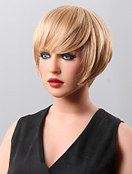 cheap -Fluffy Beautyful High Quality Capless Short Wavy Mono Top Human Hair Wigs 15 Colors to Choose