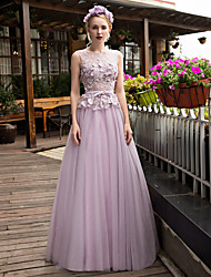 A-Line Illusion Neckline Sweep / Brush Train Lace Tulle Prom Formal Evening Dress with Beading Appliques Bow(s) Crystal Detailing