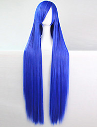 cheap -Anime Cosplay Wigs Blue 100 CM Long Straight Hair High Temperature Wire