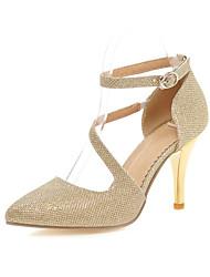 baratos -Mulheres Sapatos Courino Primavera / Verão Salto Agulha Prata / Dourado / Casamento
