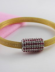 Net Wire Stainless Steel Magnetic Clasp Full Red Stones Bangle