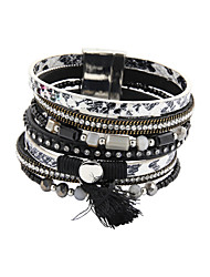leather Charm BraceletsFashion Women Multi Rows Stone Set Beaded Snake Skin Magnet Leather Bracelet