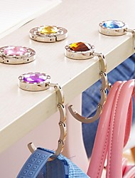 cheap -Fashion Rhinestone Bag Keeper Folded Purse Bag Holder Metal Hangbag Hook(Random Color)