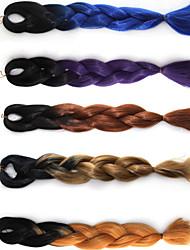 Недорогие -Волосы для кос Прямой Прочее / Afro Kinky плетенки Искусственные волосы / Тойокалоновые волосы / Kanekalon 1 шт. косы волос Разноцветный 18 дюймы Косплей Halloween / Вечерние Африканские косы