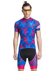 TASDAN Cycling Jersey with Shorts Men's Short Sleeves Bike Shorts Jersey Quick Dry Breathable 3D Pad Reflective Strips Back Pocket