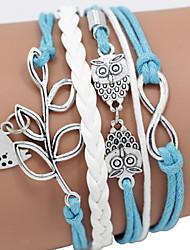abordables -Trenzado Pulseras de cuero - Pájaro, Animal, Rama de olivo Diseño Único, Casual, Cuero Pulseras y Brazaletes Azul Para Regalos de Navidad