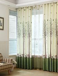 Two Panels Print Tree  Room Darkening Curtains
