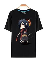 Inspirado por Naruto Sasuke Uchiha Animé Disfraces de cosplay Cosplay de la camiseta Estampado Negro Manga Corta Top