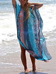Women's Boho Halter Cover-Ups,Floral Wireless / Padless Bra Polyester Blue