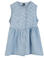 cheap -Girls' Daily Dress, Cotton Summer Sleeveless Floral Light Blue