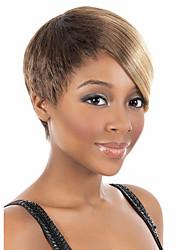 donne bob short parrucche diritte sintetiche dei capelli beige caldo marrone fibra resistente a basso costo partito cosplay parrucca di capelli