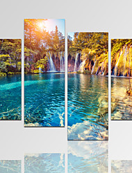 VISUAL STAR®Forest Sunshine Picture Print on Canvas with Wood Frame Waterfall Art Print Ready to Hang