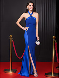 Sheath / Column Halter Floor Length Chiffon Stretch Satin Prom Formal Evening Dress with Split Front by TS Couture®