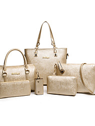 Women Bags All Seasons PU Shoulder Bag Tote Wallet Bag Set 6 Pcs Purse Set for Casual Gold Black Beige Fuchsia Blue