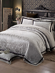 cheap -Black and gray Queen King Size Bedding Set Luxury Silk Cotton Blend Duvet Cover Sets