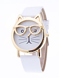 Women's European Style Cute Cartoon Cat Glasses Wrist Watches Cool Watches Unique Watches Fashion Watch Strap Watch