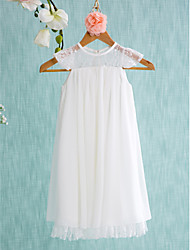 cheap -A-Line Short / Mini Flower Girl Dress - Chiffon Sleeveless Jewel Neck with Lace Pleats by LAN TING BRIDE®