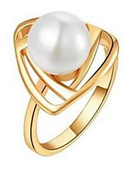 cheap -Women's Silver Plated Statement Ring - Adjustable Gold White Black Silver Ring For Party