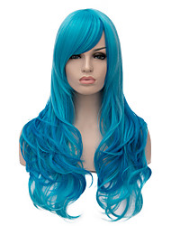 cheap -Top Quality Long Wavy Blue Color Cosplay Hair Synthetic Wigs