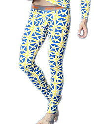 cheap -men long johns men's bodysuit pants mens  blue print  tight leggings pants N500116