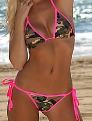 Bikini Aux femmes Couleur Pleine Sans Armature Bandeau Polyester