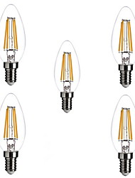 cheap -ONDENN 5pcs 2800-3200 lm E14 LED Filament Bulbs C35 4 leds COB Dimmable Warm White AC 220-240V