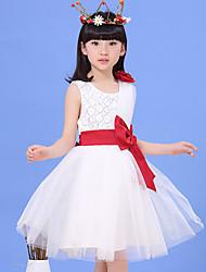 levne -Dívka je Polyester Jdeme ven Patchwork Léto Šaty, Bez rukávů Mašle Bílá Růžová