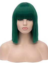Top Quality Midlle Long Straight Green Color Cosplay Hair Synthetic Wigs