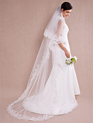 cheap -One-tier Lace Applique Edge Wedding Veil Chapel Veils With 110.24 in (280cm) Organza