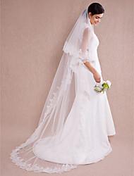 Uma Camada Borda com aplicação de Renda Véus de Noiva Véu Capela Com 110,24 em (280 centímetros) Organza