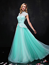 cheap -A-Line Illusion Neckline Floor Length Lace Tulle Prom Formal Evening Dress with Beading Crystal Detailing Lace Sash / Ribbon by QZ