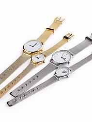 Homens Mulheres Casal Relógio de Moda Quartzo Relógio Casual Aço Inoxidável Banda Prata Dourada