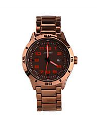 Недорогие -SINOBI Муж. Кварцевый Наручные часы Календарь Защита от влаги Спортивные часы сплав Группа Кулоны Розовое золото