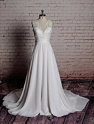cheap -A-Line V Neck Chapel Train Chiffon / Lace Made-To-Measure Wedding Dresses with Bowknot / Appliques by