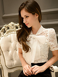 Women's lace Solid White Shirt,Bow Short Sleeve