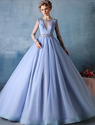 Ball Gown Illusion Neckline Court Train Tulle Formal Evening Dress with Beading by HQY