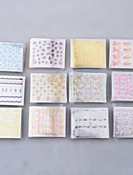 economico -50 fogli punte manicure 3D adesivi colorati decalcomania di arte del chiodo decorazione fai da te
