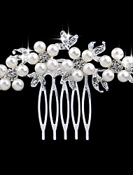 cheap -Women's Crystal Imitation Pearl Silver Imitation Diamond Hair Comb, Elegant & Luxurious Silver