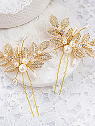 Women's / Flower Girl's Rhinestone / Alloy / Imitation Pearl Headpiece-Wedding / Special Occasion Hair Pin 2 Pieces