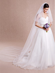 cheap -Two-tier Cut Edge Wedding Veil Cathedral Veils With 118.11 in (300cm) Tulle