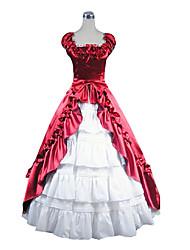 One-Piece/Dress Sweet Lolita Vintage Inspired Cosplay Lolita Dress Red / White Vintage Sleeveless Floor-length Dress For Women Satin