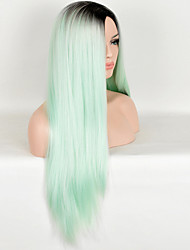 European and American Fashion High Temperature Green Color Straight Wig