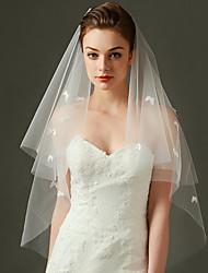 Uma Camada Corte da borda Véus de Noiva Véu Cotovelo Com Apliques Tule